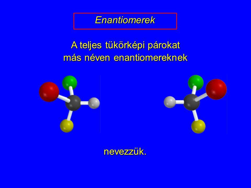 A teljes tükörképi párokat más néven enantiomereknek