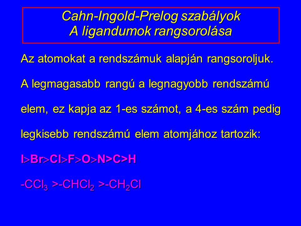 Cahn-Ingold-Prelog szabályok A ligandumok rangsorolása