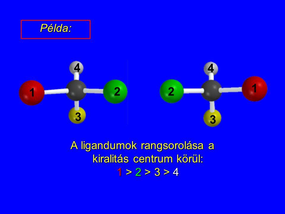 Példa: 1 2 3 4 1 2 3 4 A ligandumok rangsorolása a kiralitás centrum körül: 1 > 2 > 3 > 4 5
