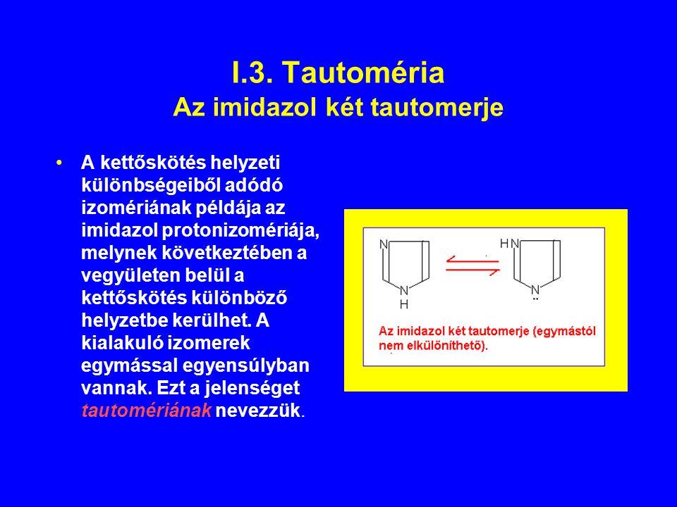 I.3. Tautoméria Az imidazol két tautomerje