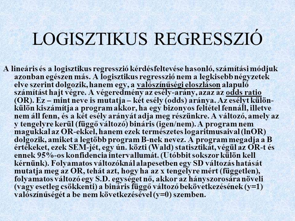 LOGISZTIKUS REGRESSZIÓ
