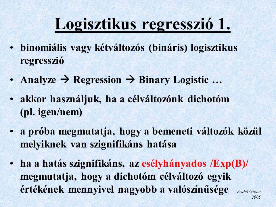 Logisztikus regresszió 1.