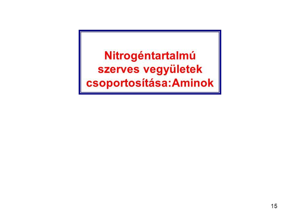 Nitrogéntartalmú szerves vegyületek csoportosítása:Aminok