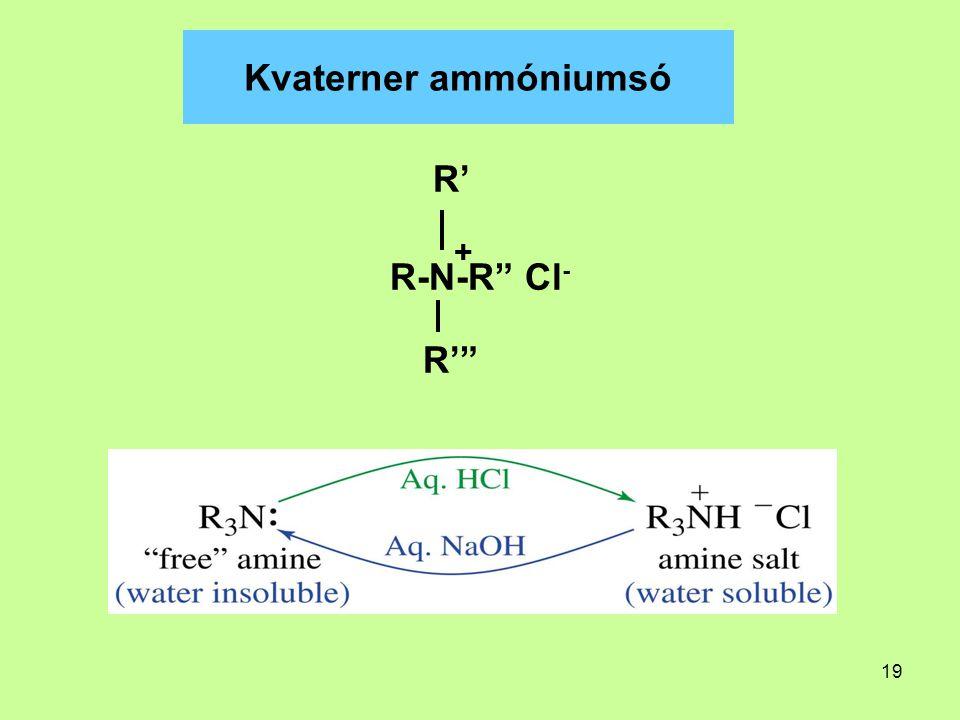 Kvaterner ammóniumsó R' R-N-R Cl- R' +