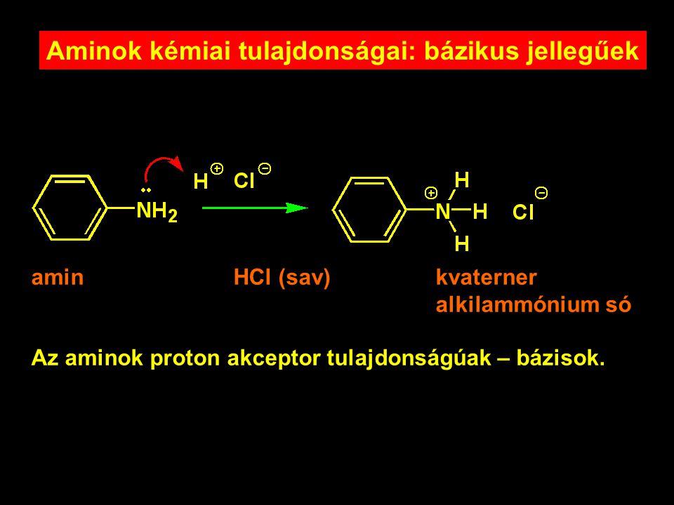 Aminok kémiai tulajdonságai: bázikus jellegűek