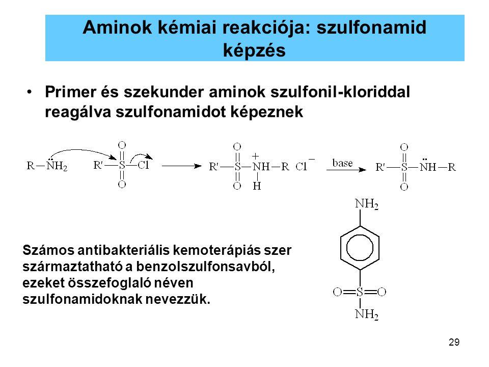 Aminok kémiai reakciója: szulfonamid képzés