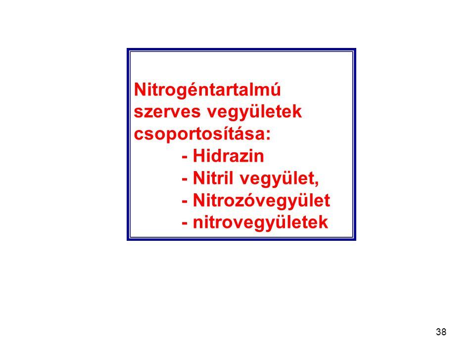 Nitrogéntartalmú szerves vegyületek csoportosítása: