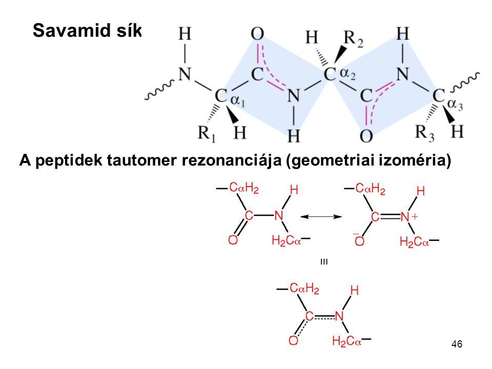 A peptidek tautomer rezonanciája (geometriai izoméria)