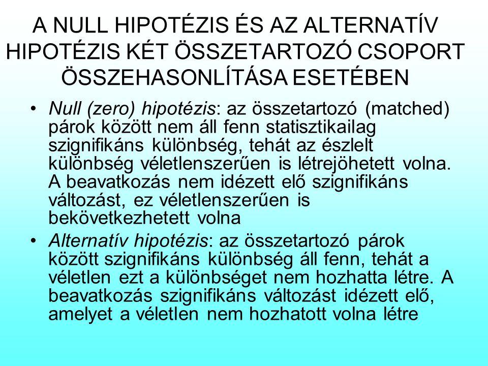 A NULL HIPOTÉZIS ÉS AZ ALTERNATÍV HIPOTÉZIS KÉT ÖSSZETARTOZÓ CSOPORT ÖSSZEHASONLÍTÁSA ESETÉBEN