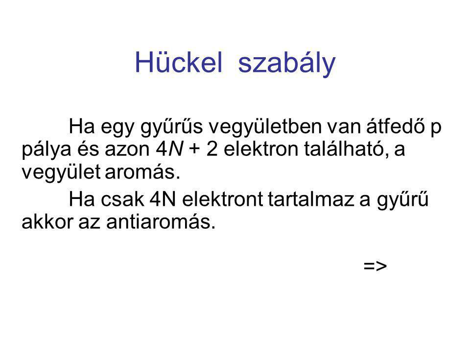 Hückel szabály Ha egy gyűrűs vegyületben van átfedő p pálya és azon 4N + 2 elektron található, a vegyület aromás.