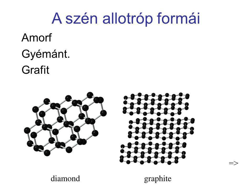 A szén allotróp formái Amorf Gyémánt. Grafit =>