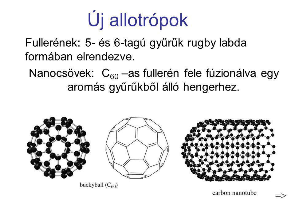 Új allotrópok Fullerének: 5- és 6-tagú gyűrűk rugby labda formában elrendezve.