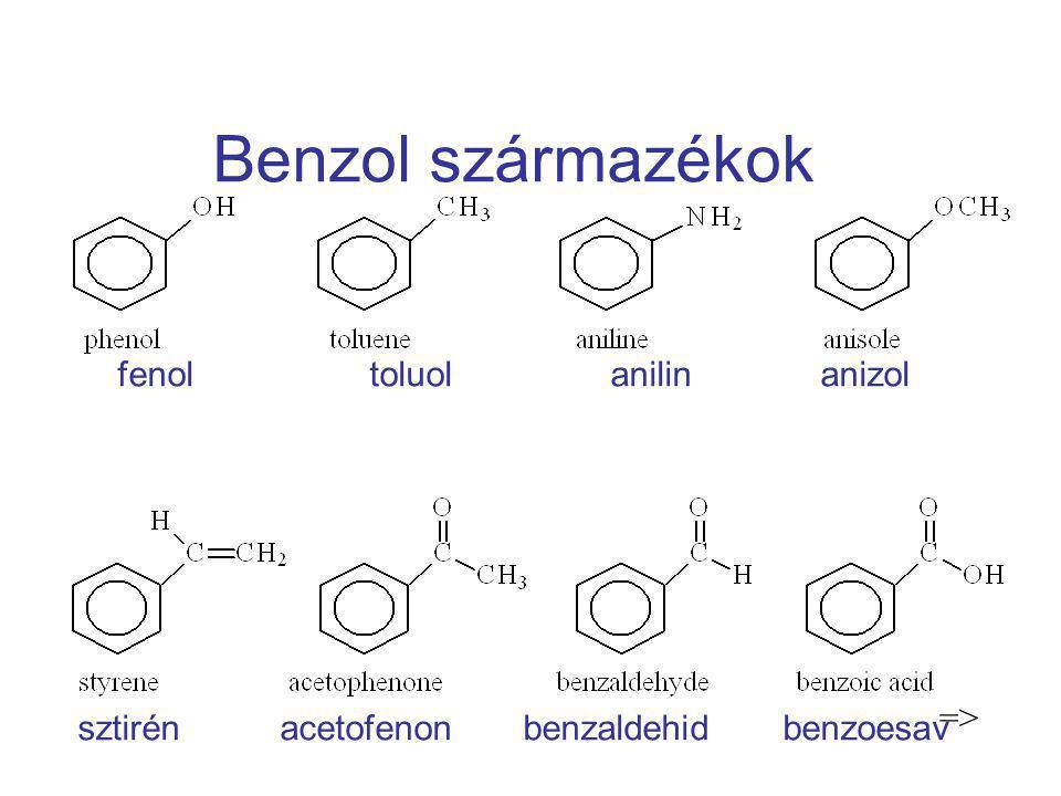 Benzol származékok fenol toluol anilin anizol sztirén acetofenon benzaldehid benzoesav