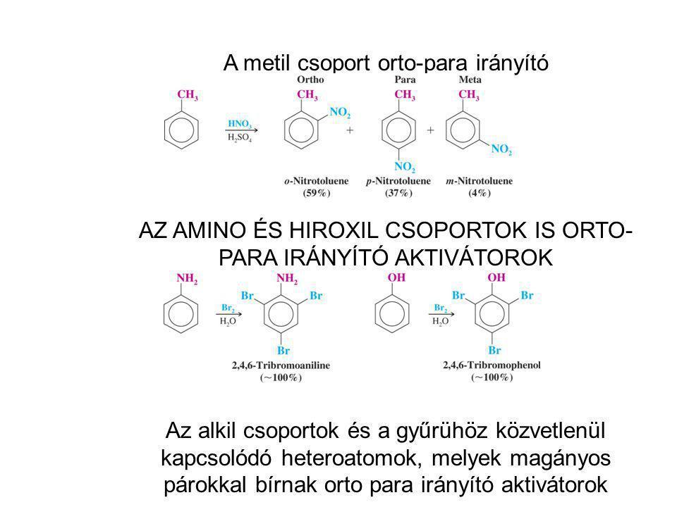A metil csoport orto-para irányító