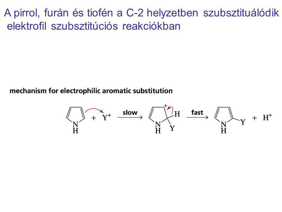 A pirrol, furán és tiofén a C-2 helyzetben szubsztituálódik