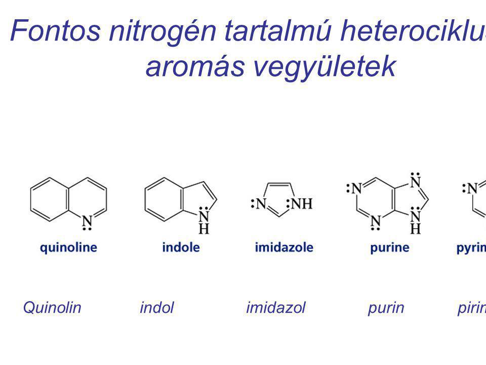 Fontos nitrogén tartalmú heterociklusos aromás vegyületek