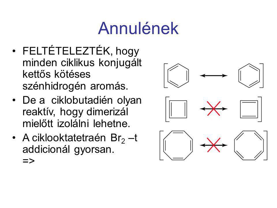 Annulének FELTÉTELEZTÉK, hogy minden ciklikus konjugált kettős kötéses szénhidrogén aromás.