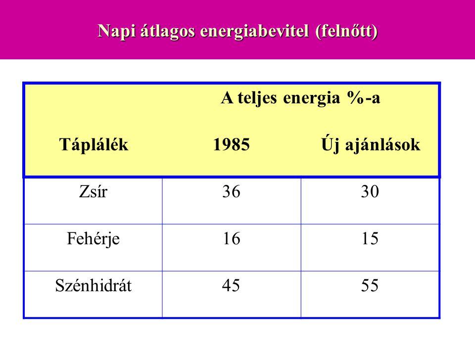 Napi átlagos energiabevitel (felnőtt)