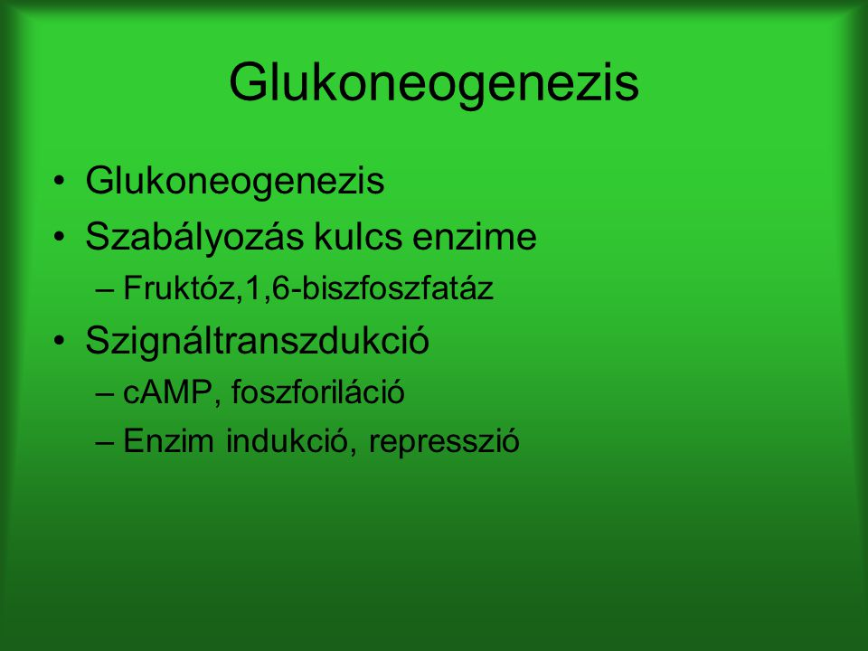 Glukoneogenezis Glukoneogenezis Szabályozás kulcs enzime