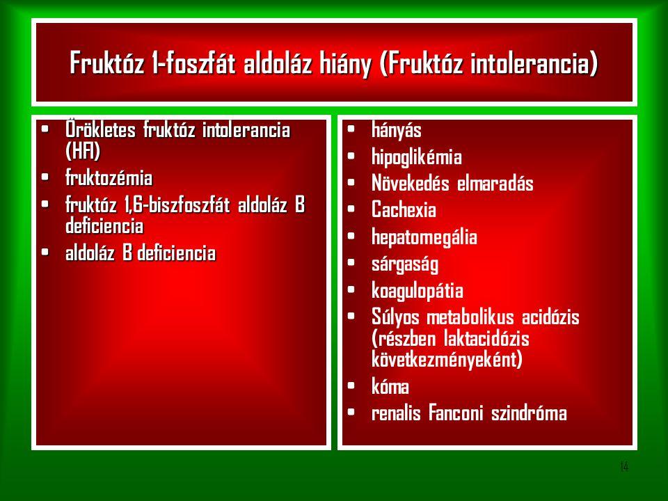 Fruktóz 1-foszfát aldoláz hiány (Fruktóz intolerancia)