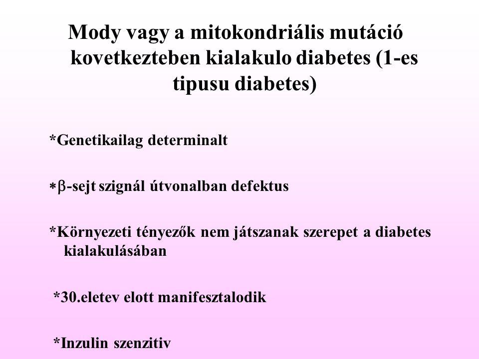 Mody vagy a mitokondriális mutáció kovetkezteben kialakulo diabetes (1-es tipusu diabetes)