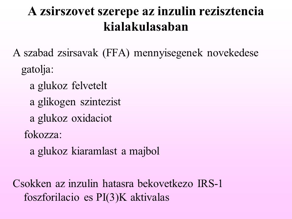 A zsirszovet szerepe az inzulin rezisztencia kialakulasaban