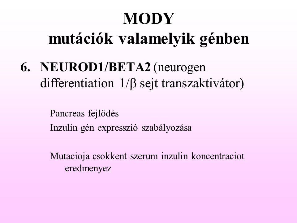 MODY mutációk valamelyik génben