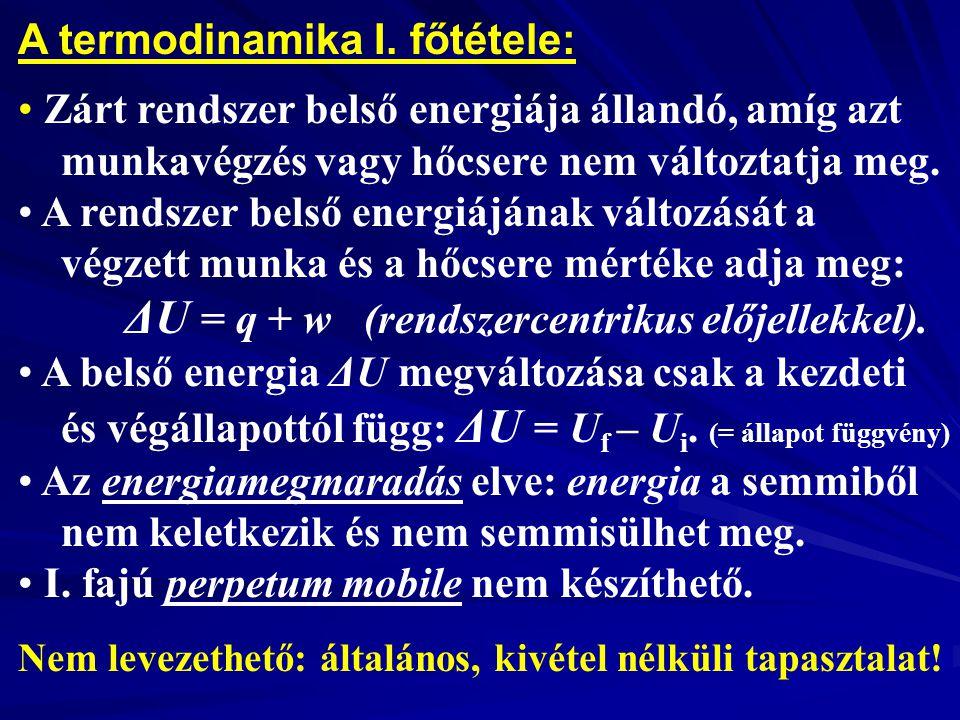 A termodinamika I. főtétele: