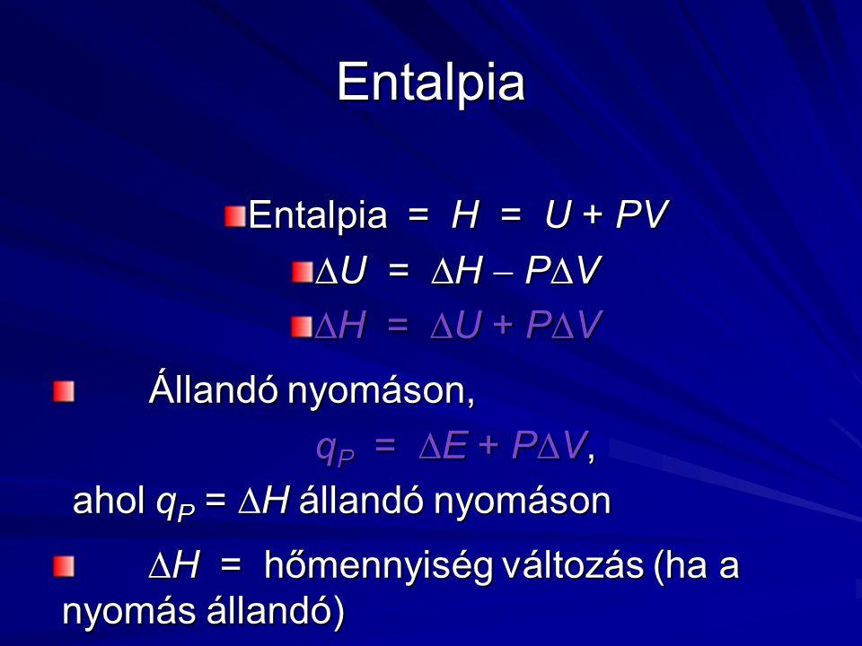 Entalpia Entalpia = H = U + PV U = H  PV H = U + PV