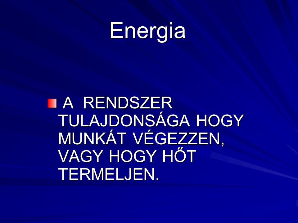 Energia A RENDSZER TULAJDONSÁGA HOGY MUNKÁT VÉGEZZEN, VAGY HOGY HŐT TERMELJEN.