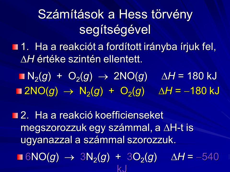 Számítások a Hess törvény segítségével