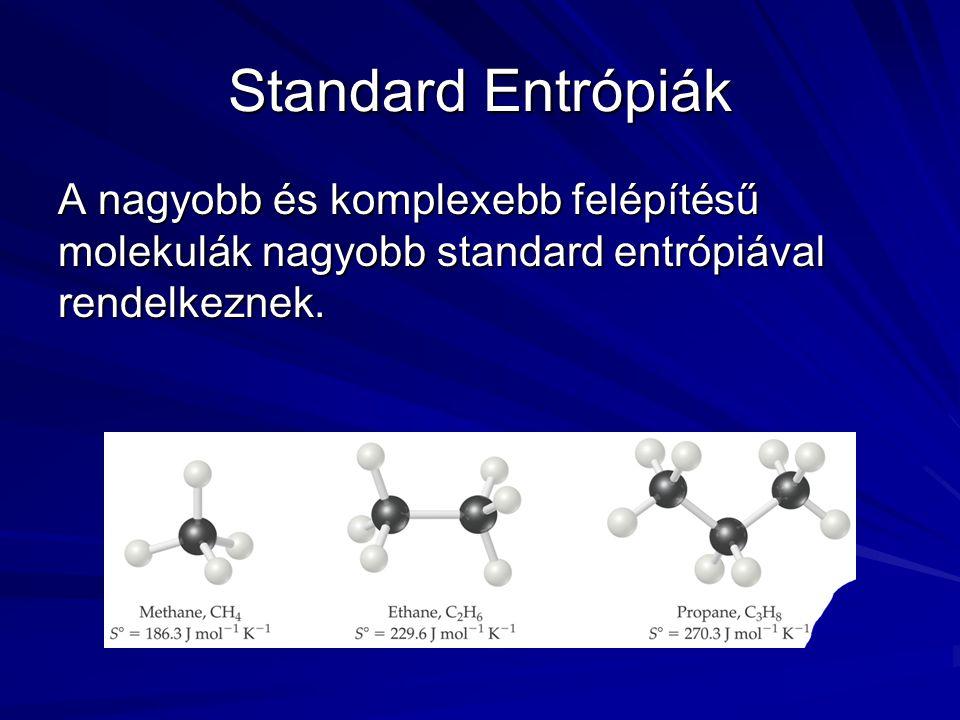 Standard Entrópiák A nagyobb és komplexebb felépítésű molekulák nagyobb standard entrópiával rendelkeznek.