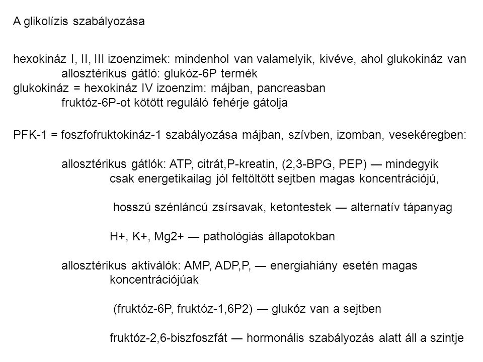 A glikolízis szabályozása