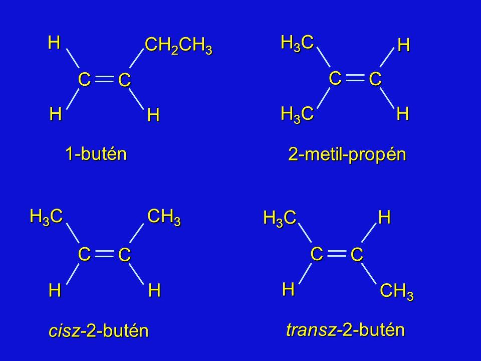 C H CH2CH3 C H H3C 1-butén 2-metil-propén H CH3 C H3C H3C C CH3 H cisz-2-butén transz-2-butén