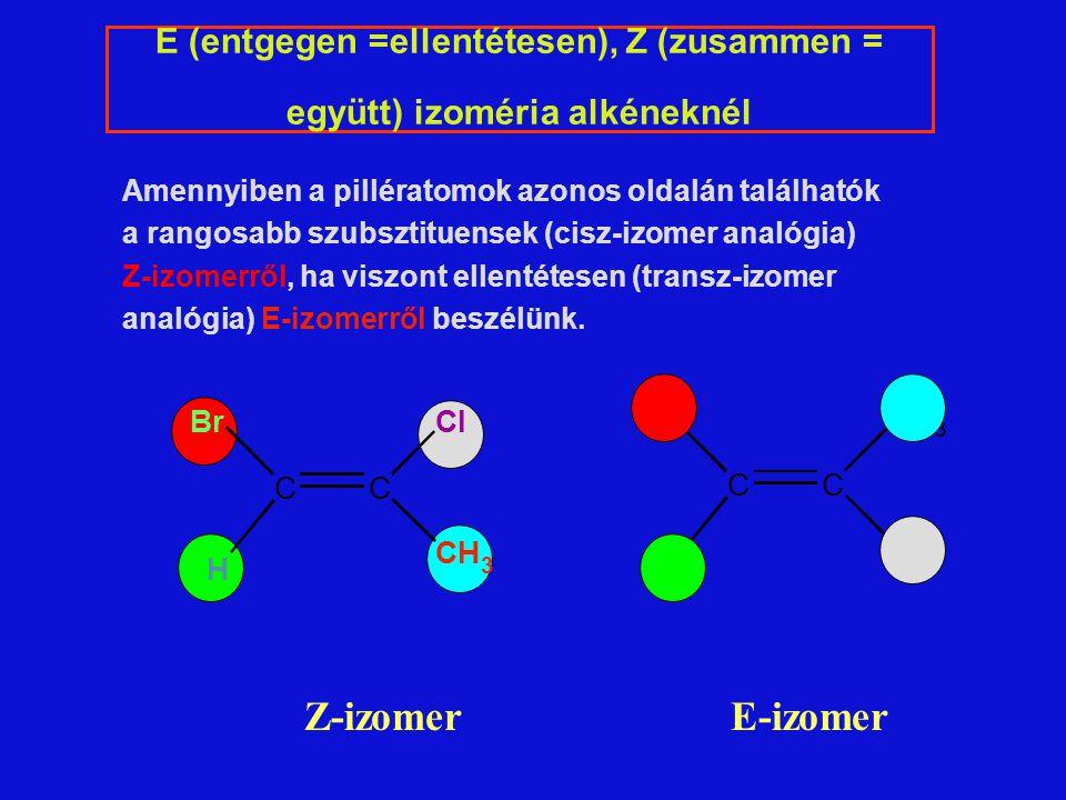 E (entgegen =ellentétesen), Z (zusammen = együtt) izoméria alkéneknél