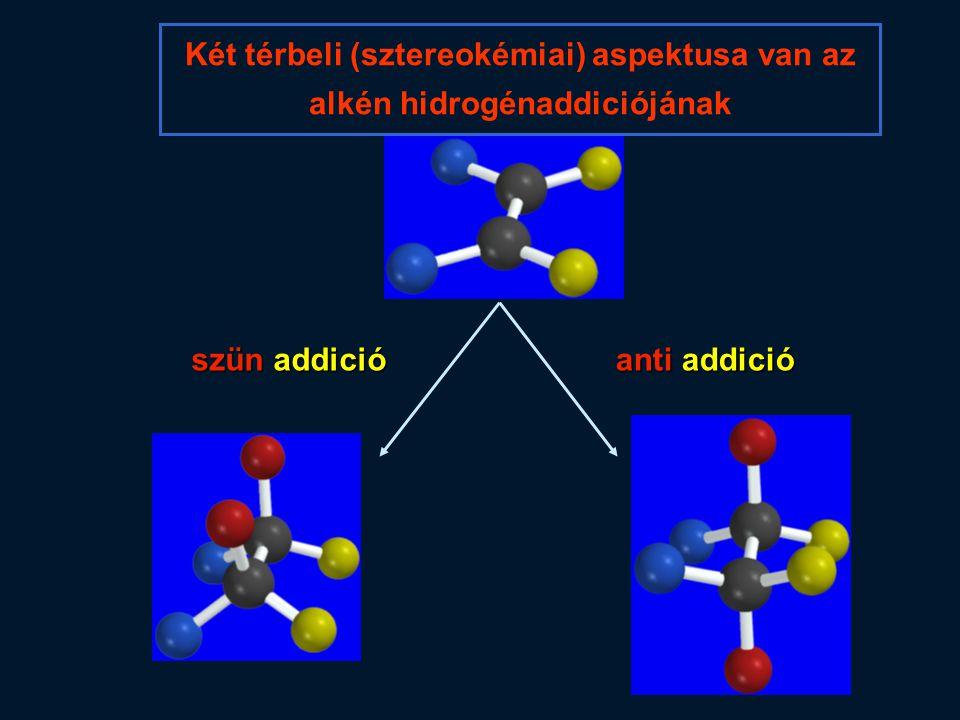 Két térbeli (sztereokémiai) aspektusa van az alkén hidrogénaddiciójának