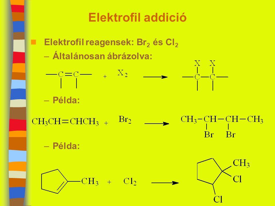 Elektrofil reagensek: Br2 és Cl2