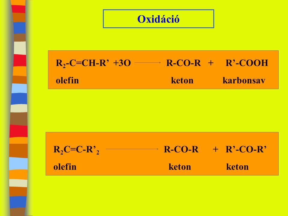 Oxidáció R2-C=CH-R' +3O R-CO-R + R'-COOH olefin keton karbonsav