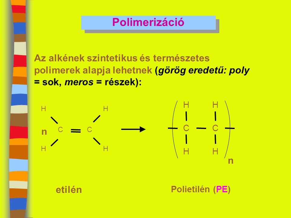 Polimerizáció Az alkének szintetikus és természetes polimerek alapja lehetnek (görög eredetű: poly = sok, meros = részek):