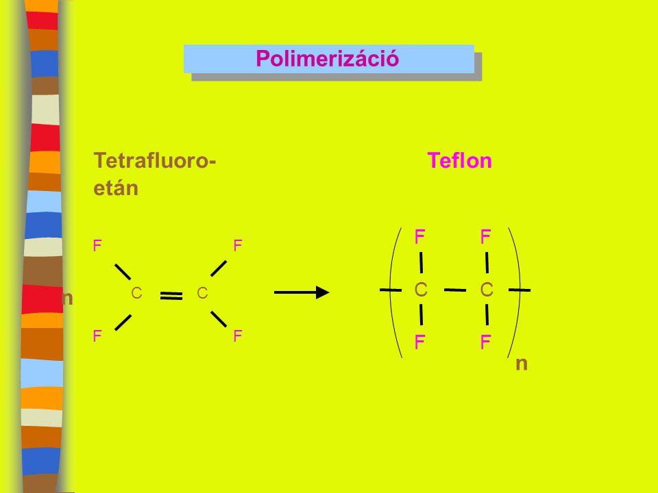 Polimerizáció Tetrafluoro- etán Teflon F F C F C C n F F n