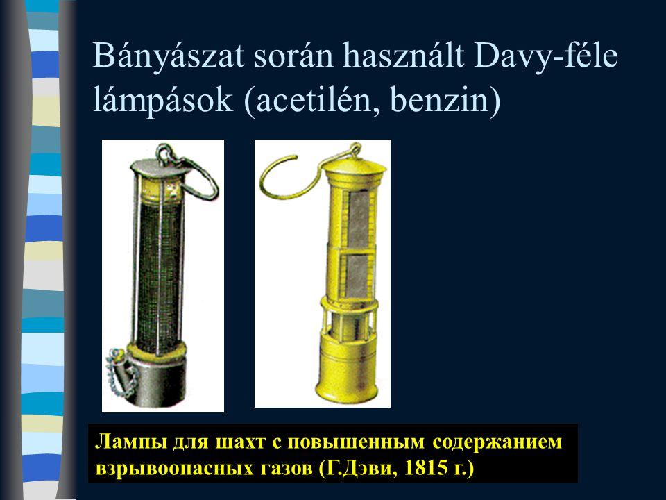 Bányászat során használt Davy-féle lámpások (acetilén, benzin)