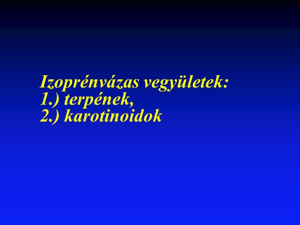 Izoprénvázas vegyületek: 1.) terpének, 2.) karotinoidok