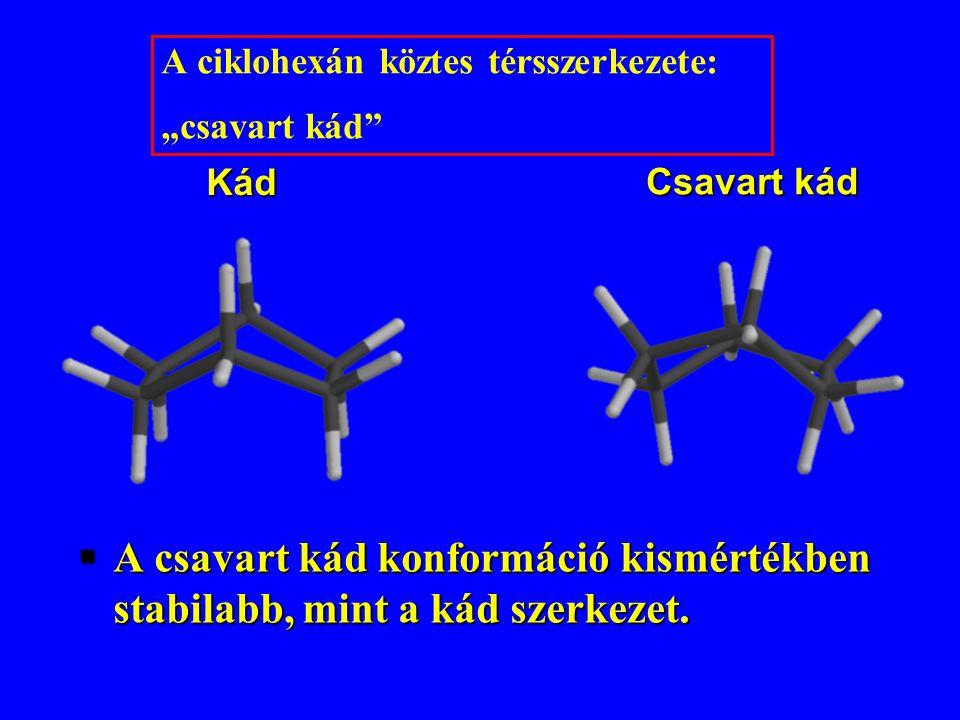 """A ciklohexán köztes térsszerkezete: """"csavart kád"""