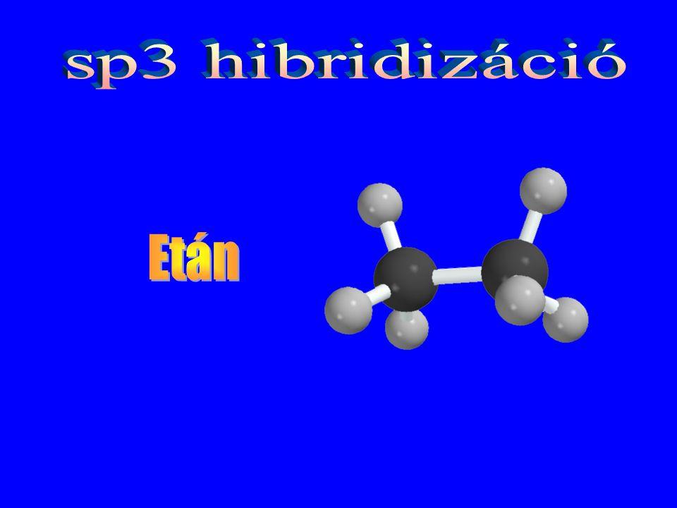 sp3 hibridizáció Etán