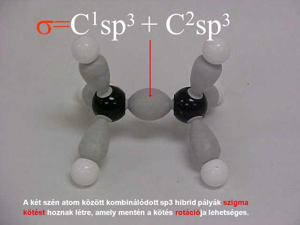 s=C1sp3 + C2sp3 A két szén atom között kombinálódott sp3 hibrid pályák szigma kötést hoznak létre, amely mentén a kötés rotációja lehetséges.