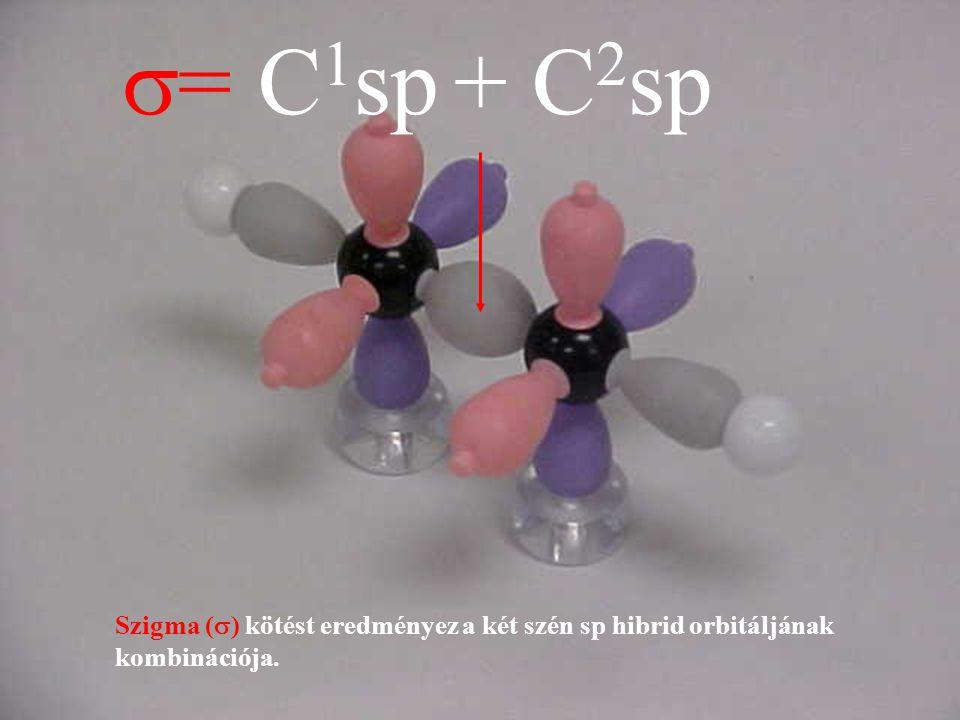 s= C1sp + C2sp Szigma (s) kötést eredményez a két szén sp hibrid orbitáljának kombinációja.
