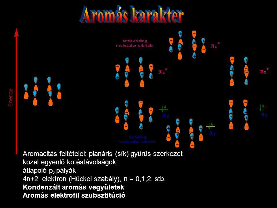 Aromás karakter Aromacitás feltételei: planáris (sík) gyűrűs szerkezet