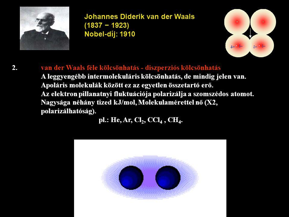 Johannes Diderik van der Waals (1837 − 1923) Nobel-díj: 1910