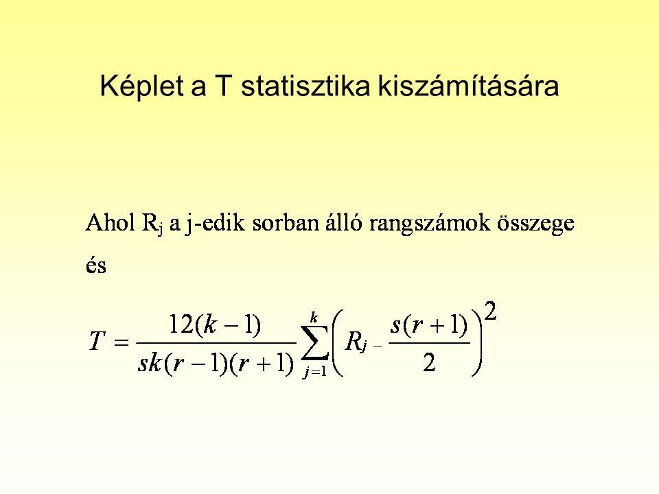 Képlet a T statisztika kiszámítására