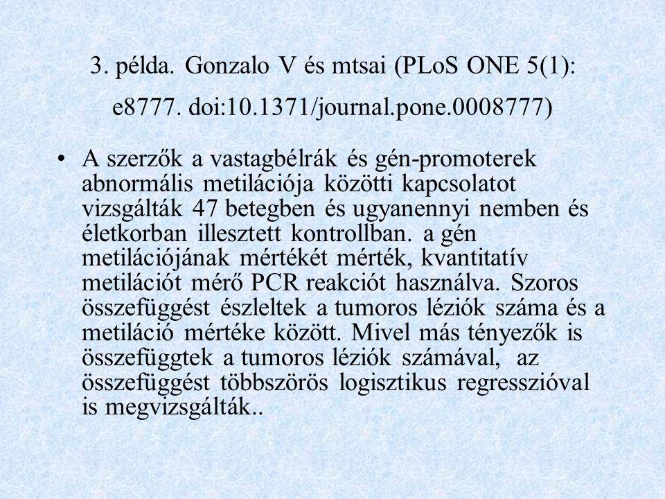 3. példa. Gonzalo V és mtsai (PLoS ONE 5(1): e8777. doi:10